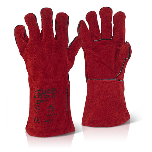 Click2000 Red Welders Gauntlet Gloves 14inch Cat 2 Red Pack of 60 Pairs Ref C2W