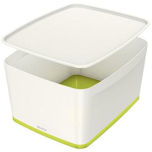 Leitz MyBox Storage Box Large with Lid Plastic W385xD318xH198mm White/Green Ref 52164064