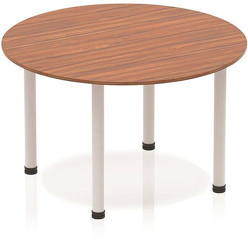 Circular Table Walnut with Silver Frame 1200x1200mm