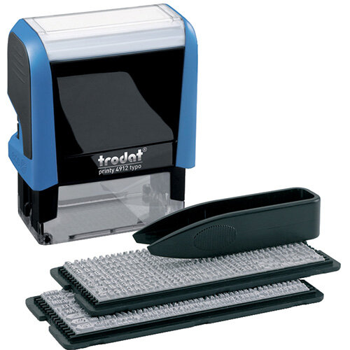 Trodat Printy 4912 Stamp D-I-Y Kit 4912 TYPO -  4 lines of text - Max. text plate size: 47 x 18mm - Create your own self-inking rubber stamp