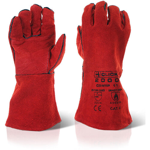 Click2000 Red Welders Patched Palm Gloves 14 inch Red Pack of 60 Pairs Ref C2WRP