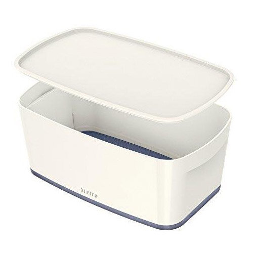 Leitz Mybox Small 5 litre Storage Box with Lid White &Grey