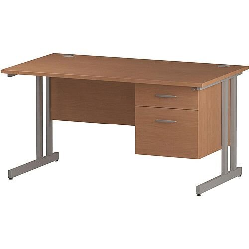Rectangular Double Cantilever Silver Leg Office Desk With Fixed 2 Drawer Pedestal Beech W1400xD800mm