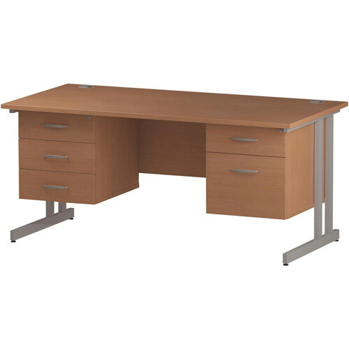 Rectangular Double Cantilever Silver Leg Office Desk With 2 Fixed Pedestals 3/2 Drawer Beech W1800xD800mm