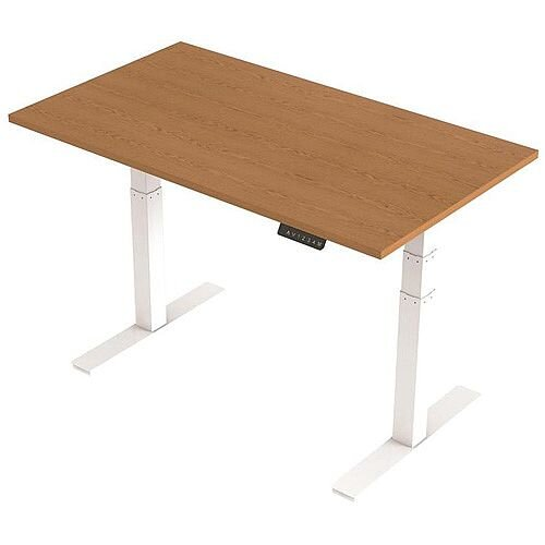 1400x800mm Height Adjustable Rectangular Sit-Stand Desk Oak with White Frame