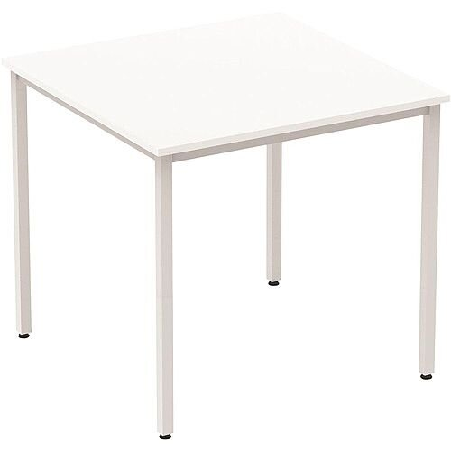 Square Table White with Silver Frame 800x800mm