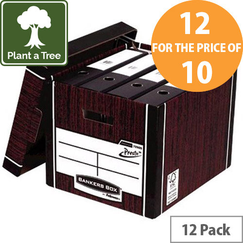 Bankers Box by Fellowes Premium PRESTO Tall Stackable Storage Box Woodgrain with Lift off Lid Pack of 12 for the Price of 10