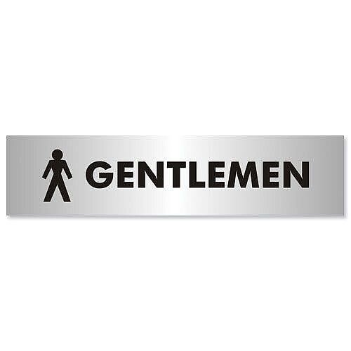 Stewart Superior Self-Adhesive Acrylic Sign Gentlemen Aluminium 190x45mm