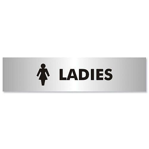 Stewart Superior Ladies Sign Brushed Aluminium Acrylic 190x45mm