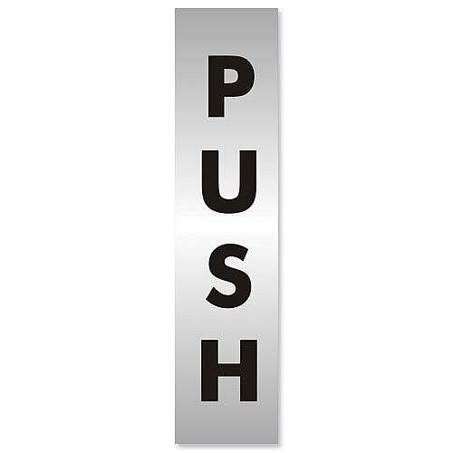 Stewart Superior Push Sign Brushed Aluminium Acrylic 190x45mm