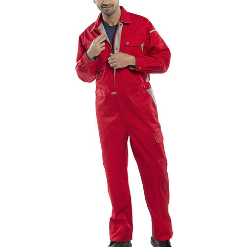 Click Premium 250gsm Polycotton Boilersuit Work Overall Size 54 Red Ref CPCRE54