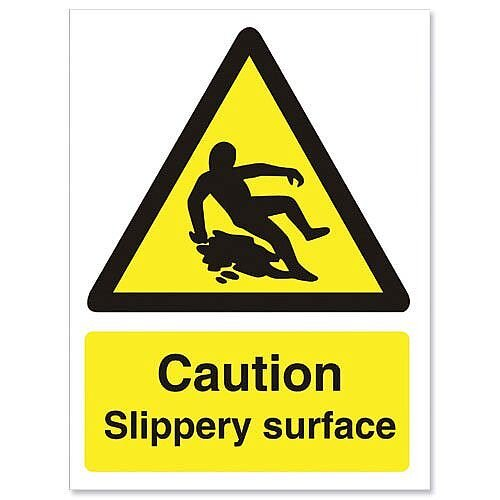 Stewart Superior Caution Slippery Surface Sign Self Adhesive Vinyl 150x200mm