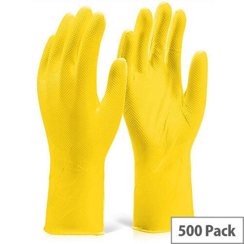 Gloveszilla Nitrile Disposable Diamond Grip Gloves 30cm M Yellow Pack of 500 Ref GZNDG15YM