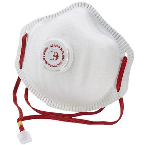 B-Brand P2 Premium Vented Mask Soft Foam Nose Seal White Pack of 20 Ref BBP2VD