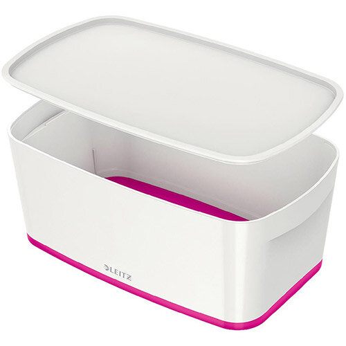 Leitz Mybox Small 5 litre Storage Box with Lid White &Pink