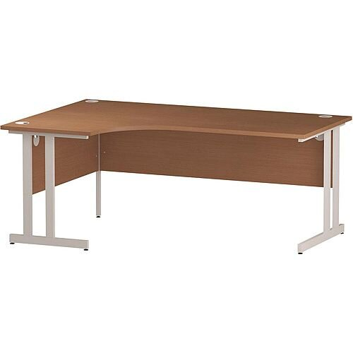 L-Shaped Corner Left Hand Double Cantilever White Leg Office Desk Beech W1800mm