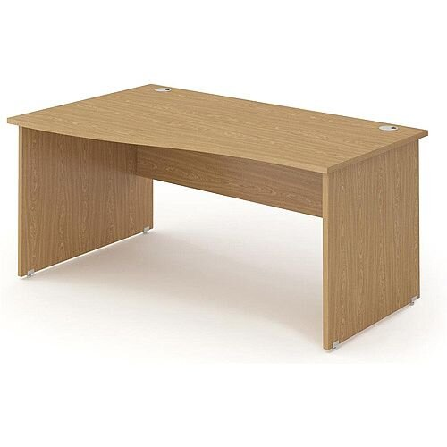 Wave Panel End Left Hand Office Desk Oak W1600mm