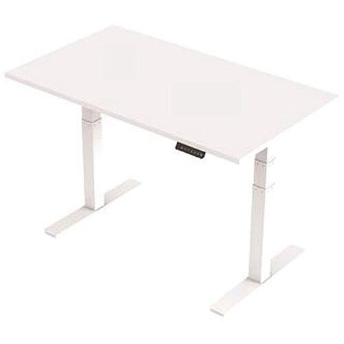 1400x800mm Height Adjustable Rectangular Sit-Stand Desk White with White Frame