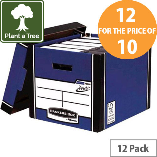 Bankers Box by Fellowes Premium PRESTO Tall Stackable Storage Box Blue with Lift off Lid Pack of 12 for the Price of 10