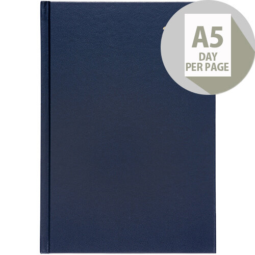 5 Star Office 2020 Diary Day to Page Casebound and Sewn Vinyl Coated Board A5 210x148mm Blue