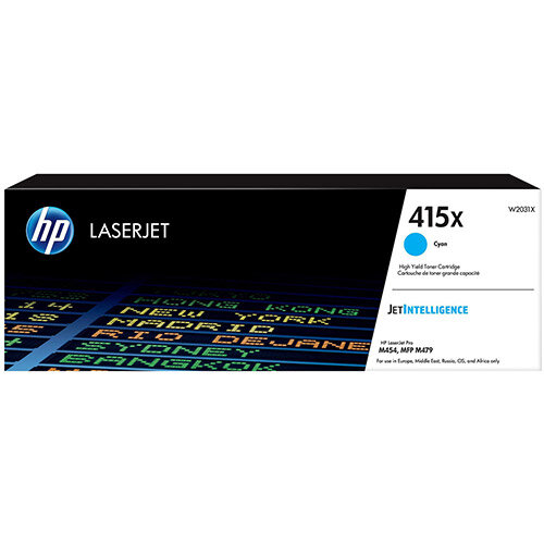 Hewlett Packard 415X Laser Toner Cartridge High Yield Page Life 6000pp Cyan Ref W2031X