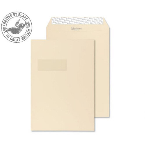 Purely Packaging Envelope Gusset P& 140gsm C4 Window Cream Ref 9401W [Pack 125]