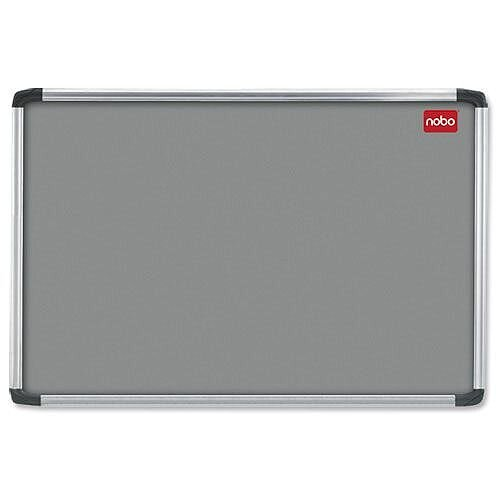 Nobo Grey Felt Notice Board 900 x 600mm with Fixings and Aluminium Frame