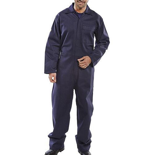 Click Fire Retardant Cotton Boilersuit Work Overall Size 54 Navy Blue Ref CFRBSN54