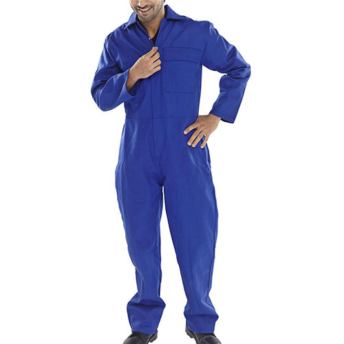 Click Fire Retardant Cotton Boilersuit Work Overall Size 54 Royal Blue Ref CFRBSR54