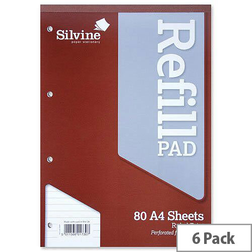 Silvine A4 Refill Pad Headbound Perforated Punched Ruled Pack 6