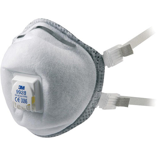 3M 9928 Cool Flow Welding Fume Valved Reusable Respirators FFP2 Classification White Pack of 10 Ref 9928