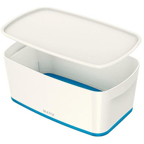 Leitz Mybox Small 5 litre Storage Box with Lid White &Blue
