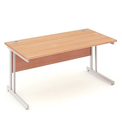 Rectangular Double Cantilever Silver Leg Office Desk Beech W1600xD800mm