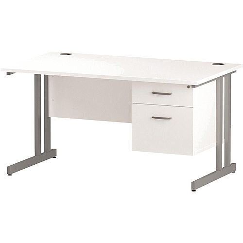 Rectangular Double Cantilever Silver Leg Office Desk With Fixed 2 Drawer Pedestal White W1400xD800mm