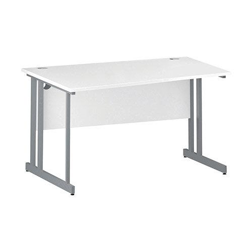 Wave Double Cantilever Silver Leg Left Hand Office Desk White W1400mm
