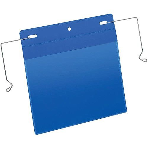 Durable A5 Landscape Pocket with Wire Hanger Dark Blue Pack of 50