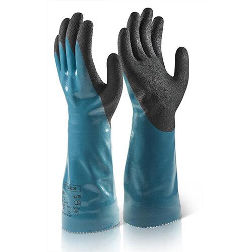 B-Flex Chemical Gauntlet Gloves Medium (Size 8) Blue Pack of 10 Ref BF6M
