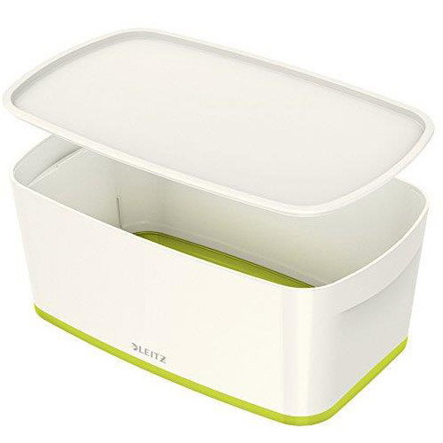 Leitz Mybox Small 5 litre Storage Box with Lid White &Green