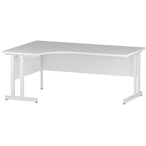 L-Shaped Corner Left Hand Double Cantilever White Leg Office Desk White W1800mm