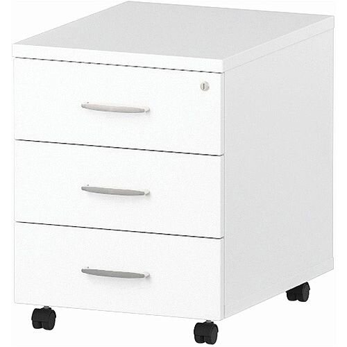 3 Drawer Mobile Desk Pedestal White