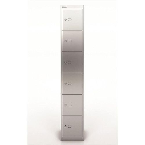 Bisley Steel Locker 305mm Deep 6 Door Silver
