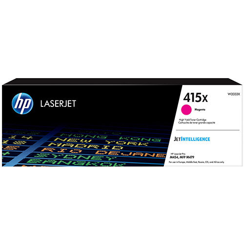 Hewlett Packard 415X Laser Toner Cartridge High Yield Page Life 6000pp Magenta Ref W2033X