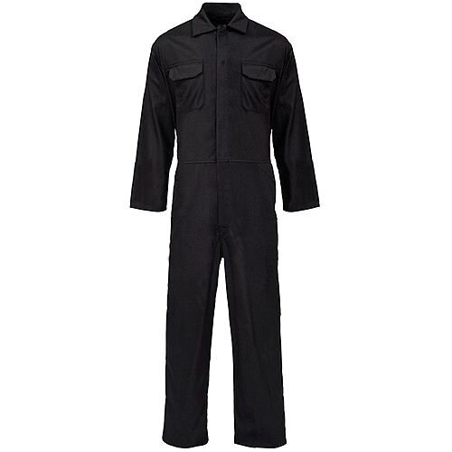 Supertouch Coverall Basic with Popper Front Opening PolyCotton Small Black Ref 51701