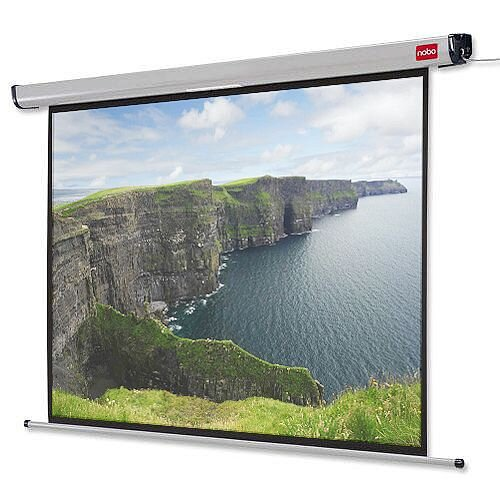 Nobo Electric Wall Mounted Projection Screen Remote W1600 x H1200mm White 2000mm Diagonal 1901971