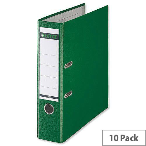 Leitz 180 Polypropylene A4 80mm Green Lever Arch File Pack of 10