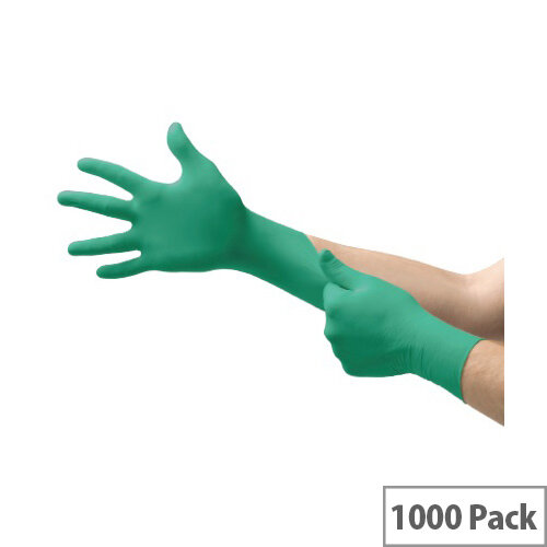 Ansell TouchNTuff 92-500 Size 7 S Durable Disposable Powdered Nitrile Gloves Green Pack of 1000 Ref AN92-500S