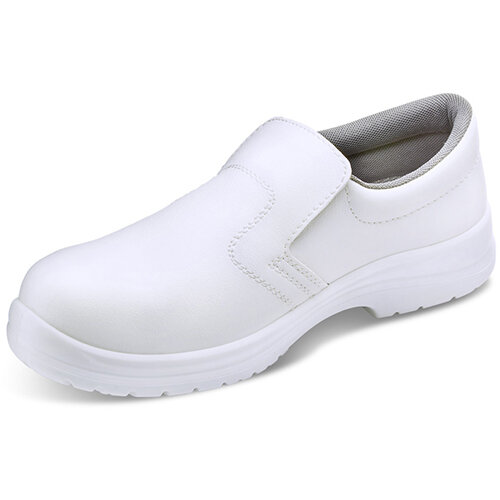 Click Footwear Micro-Fibre Washable Slip On Safety Work Shoes Steel Toecap Size 7 White - Shock Absorber Heel, Anti-Static, Slip Resistant Ref CF83207