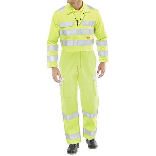Click Arc Flash Protective Hi-Vis Work Coverall Two Tone Size 38 Saturn Yellow - Fire Retardant, Anti-static, Knee Pad Pockets Ref CARC7SY38