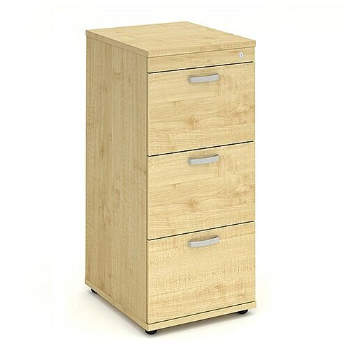 3 Drawer Filing Cabinet WxDxH 500x600x1125mm Maple
