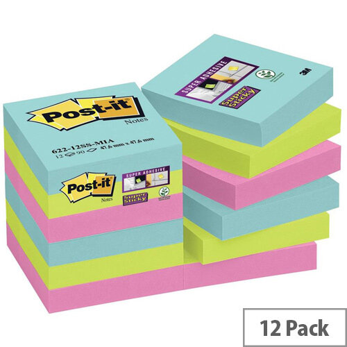 Post-it Super Sticky 47.6 x 47.6mm Removable Notes Assorted Colours  12 x 90 Sheets - Aquawave/Neon Green/Neon Pink